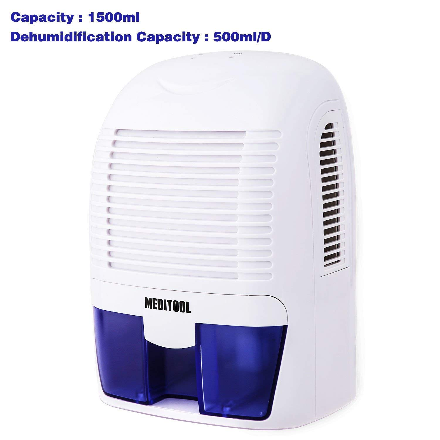 Rendio Auto Quiet Portable Compact Home Dehumidifiers, Electric Dehumidifier with 1.5L Water Tank for 2200 Cubic Feet Basement, Damp Air, Mold, Moisture in Home, Kitchen, Bedroom, Caravan, Office, Gar