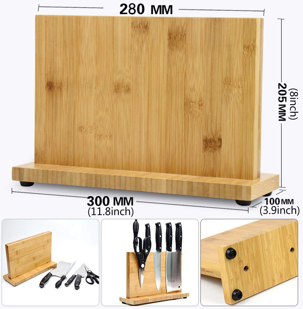 Magnetic Knife Block KitchenKnifeBlock Wooden MagneticKnifeHolder BambooKnifeStand Knife Dock by WOOYAN (Image #4)