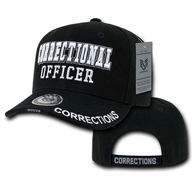 Amazon com: Deluxe Embroidered Cap- Correction Officer Black