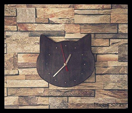 Amazon.com: Cat silhouette, Wall clock, black cat, Unique Wall Clock ...