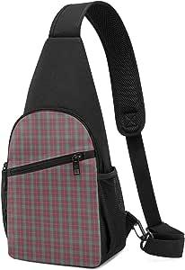 PGTry Fraser - Bolso bandolera de tartán rojo desgastado, ligero, mochila para el pecho, bolsa cruzada, para viajes, senderismo, para hombres y mujeres