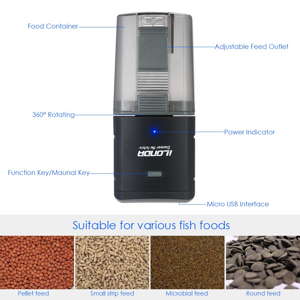 Decdeal Automatic Fish Feeder, Aquarium Tank Feeding Timer Fish Food Dispenser Adjustable Outlet, App Control Voice Control, Compatible with Alexa by Decdeal (Image #2)
