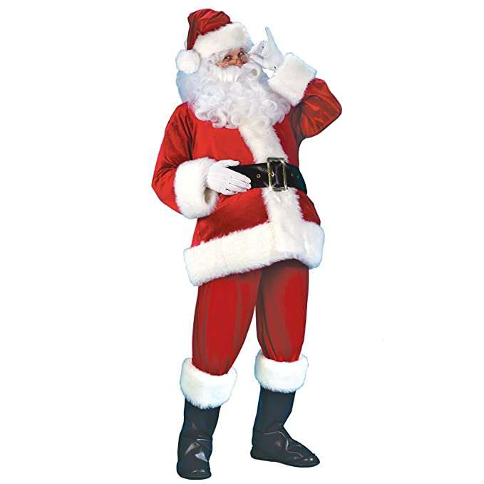 EraSpooky Men Christmas Santa Claus Adult Costume Deluxe Velvet Suit 7pcs