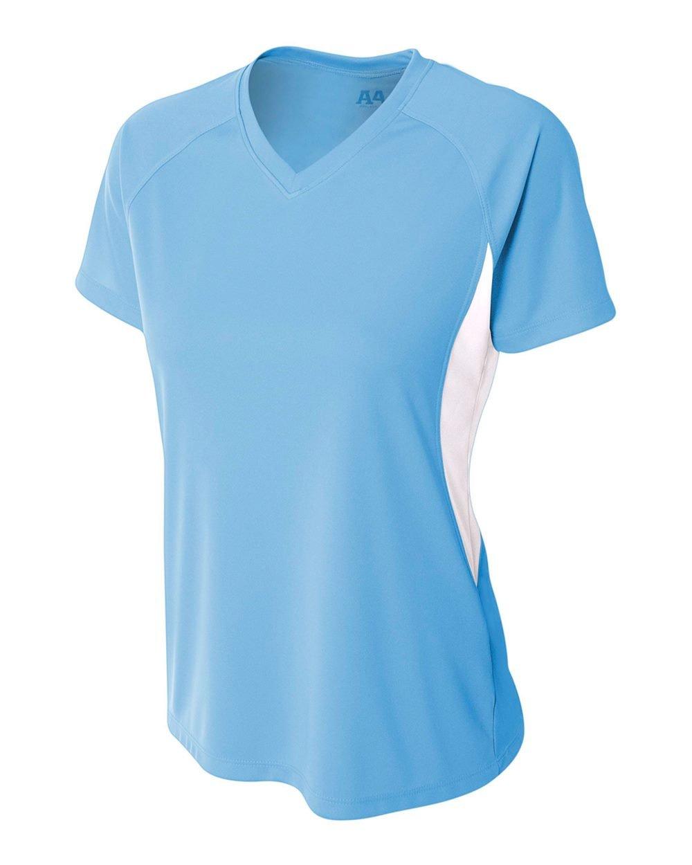 Women 's Athletic Moisture Wicking Vネック2色パフォーマンスシャツ/ Uniform (すべてのスポーツ:サッカー、ソフトボール、バレーボール。。。) B00SW5E03S Large|Light Blue (White Contrast Side Block) Light Blue (White Contrast Side Block) Large