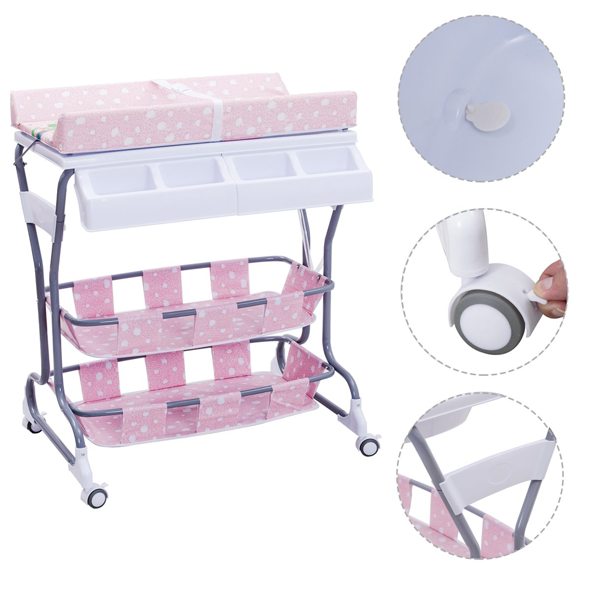 Costway 2 in 1 Infant Changing Table Baby Bath Tub Unit Rolling Station Storage Dresser (Pink)