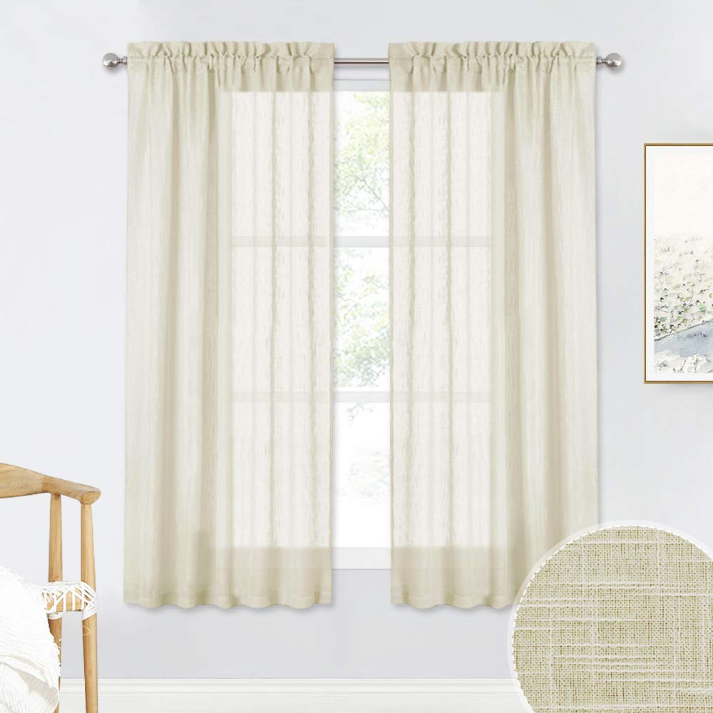 RYB HOME Linen Textured Sheer Window Curtains for Bedroom Privacy Sheer Drapes, Sunlight Filtering Solid Sheer Curtains for Bedroom Kitchen, Warm Beige, 52 x 63 inch Each Panel, One Pair