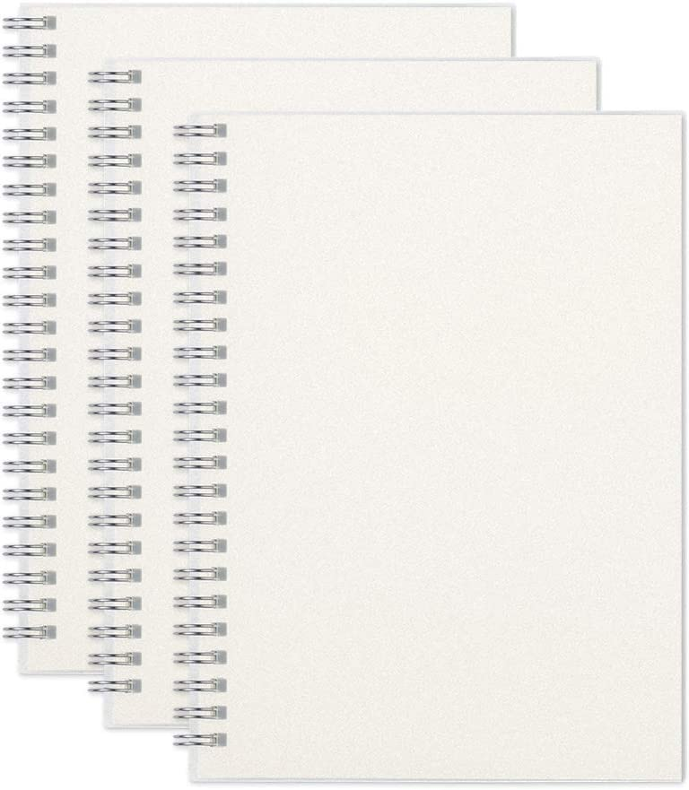 """RETTACY Blank Notebook Spiral 3 Pack - A5 Unlined Notebook with Clear Hardcover,100GSM Thick Paper,480 Pages Total,5.7""""x 8.3"""""""