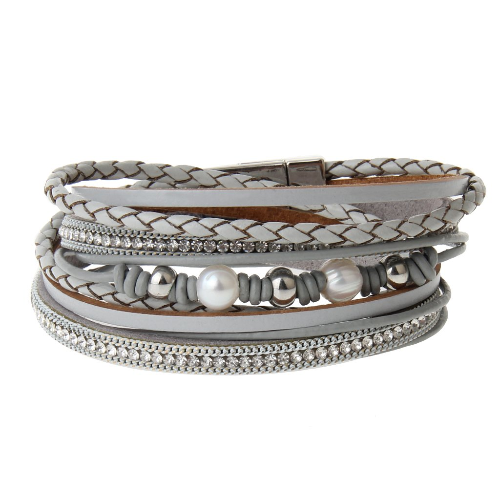 COOLLA Jewelry Fashion Women Bracelet Woven Pearls Wrap Bracelet with Magnetic Clasp (Grey)