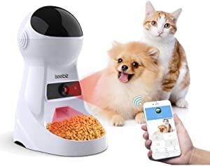 Iseebiz Automatic Pet Feeder with Camera, 3L App Control Smart Feeder Cat Dog Food Dispenser, 2-Way Audio, Voice Remind, Video Record, 6 Meals a Day for Medium Small Cats Dogs, Compatible with Alexa