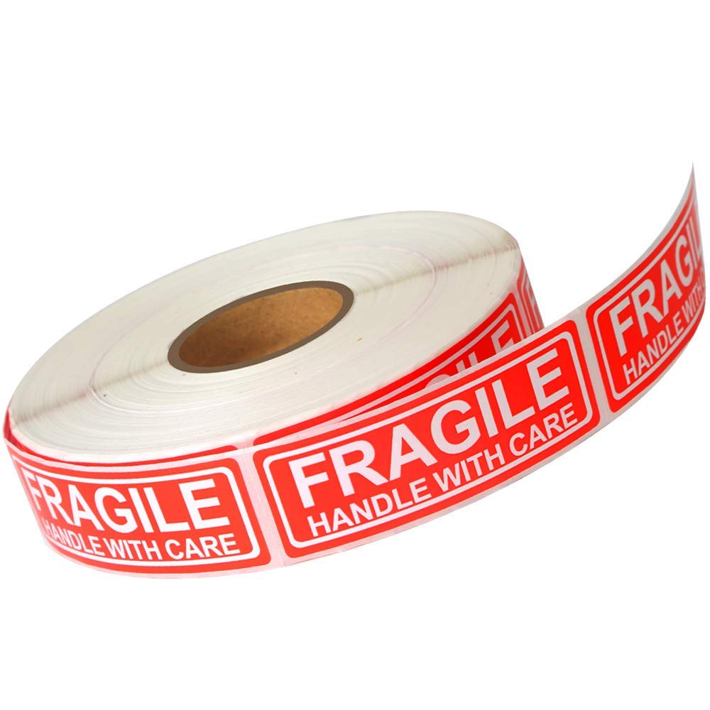 3x1 500 Permanent Adhesive Labels Per Roll 3 X 1 Fragile Labels Handle with Care Warning Stickers for Shipping and Packing