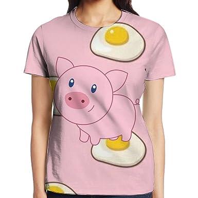 20a31863 Amazon.com: Bnm Cartoon Pig Round Collar Short-Sleeve T Shirts For Women  Young Girls: Clothing