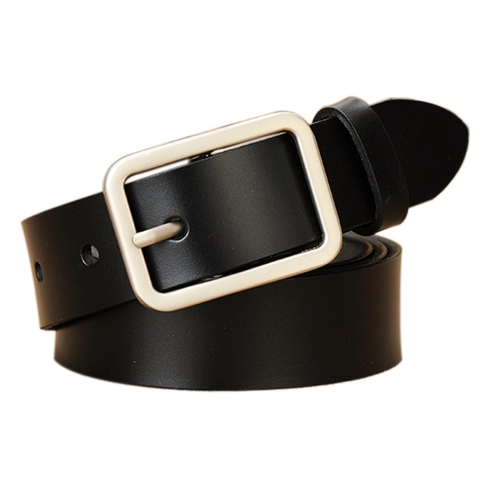 Vonsely Wide Leather Womens Belts for Jeans, Unisex Square Buckle Belts for Men and Women, 45inch Black Belt