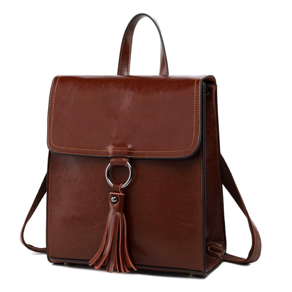 ファッション現代の革の女性のバックパックシンプルリュックサック防水ハンドバッグスクールトラベルアウトドアショルダーバッグ (色 : Brown)  Brown B07Q79LR5Z
