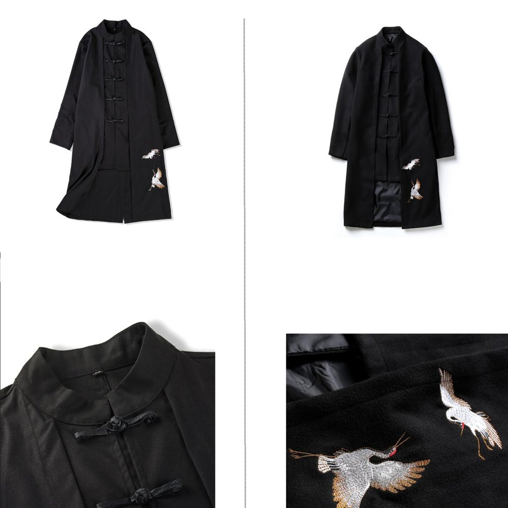 1120bf7d7 Amazon.com: Retro Chinese Style Hanfu Men's Disk Buckle Tang Suit  Embroidered Coat: Clothing