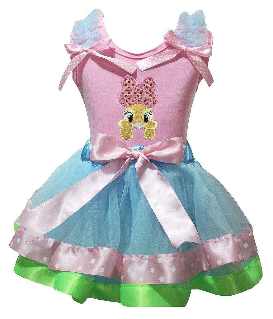 Petitebella Pink Bow Bunny Pink Shirt Pink Blue Green Petal Skirt Set Nb-8y