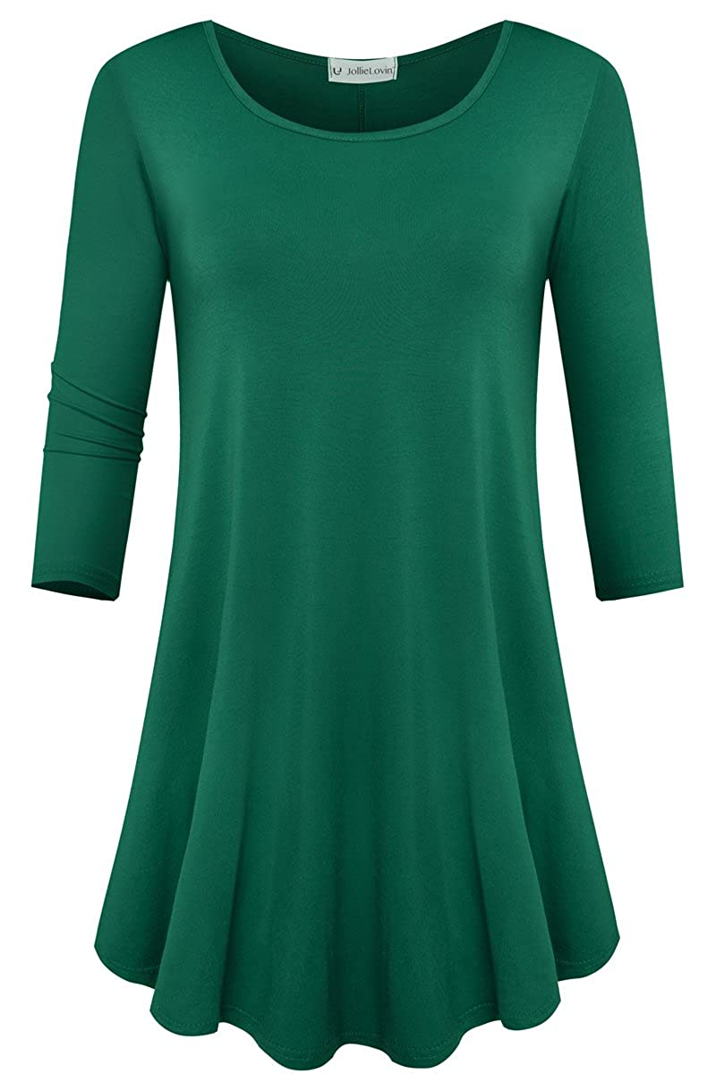 JollieLovin Womens 3/4 Sleeve Loose Fit Swing Tunic Tops Basic T Shirt 0009