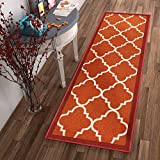 Well Woven Non-Skid Slip Rubber Back Antibacterial 2×7 (2′ x 7′ Runner) Rug Dallas Moroccan Trellis Rust Red Modern Geometric Lattice Thin Low Pile Machine Washable Indoor Outdoor Kitchen Entry