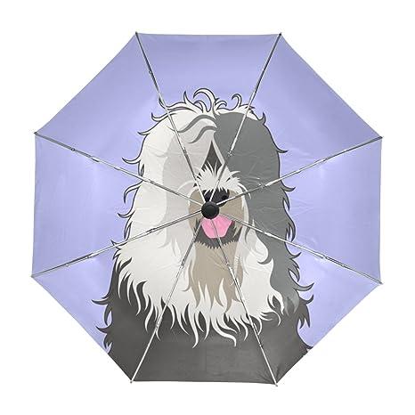 ALAZA Viajes Viejo Pastor Inglés paraguas de apertura automática Cerca de Protección UV a prueba de
