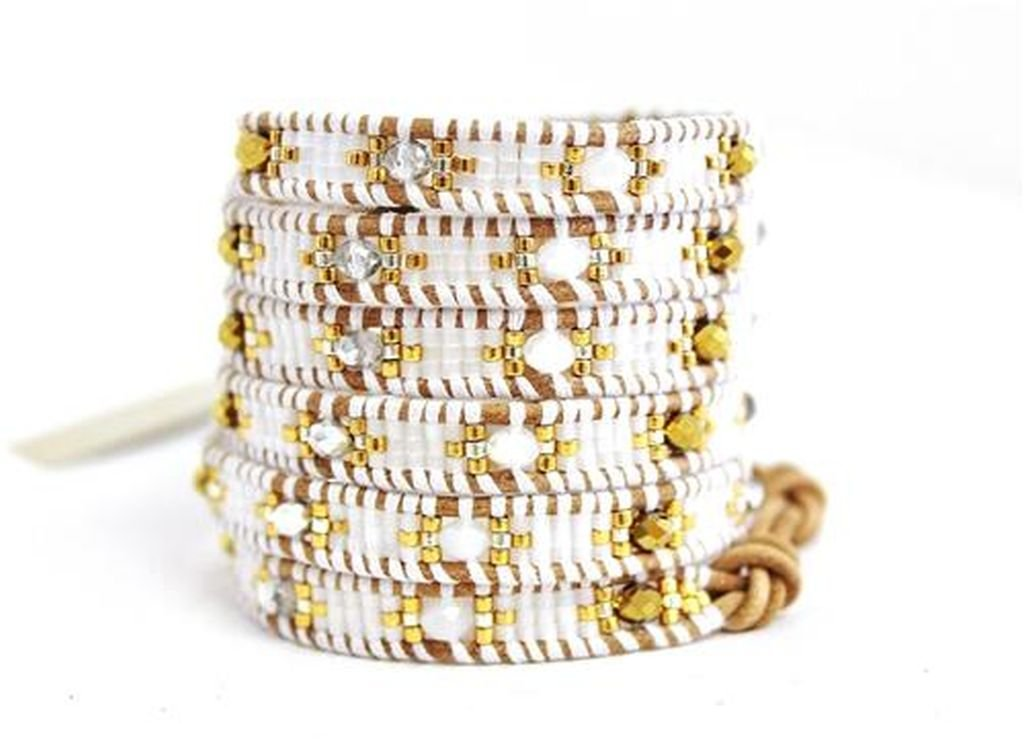 Chan Luu White Mix Wrap Bracelet on Beige Leather