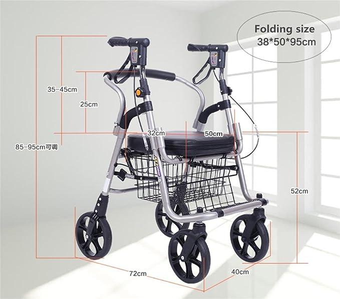 Silla de ruedas Walker para personas mayores, ligera aleación de aluminio Carrito de compras plegable de 4 ruedas con asiento acolchado, frenos bloqueables ...