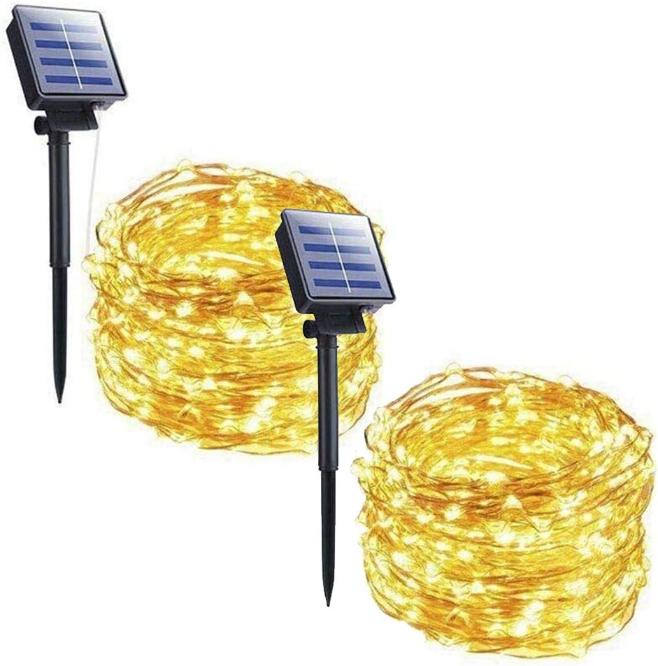 Minetom 2 Pack 33FT 100 LED Solar Powered String Lights