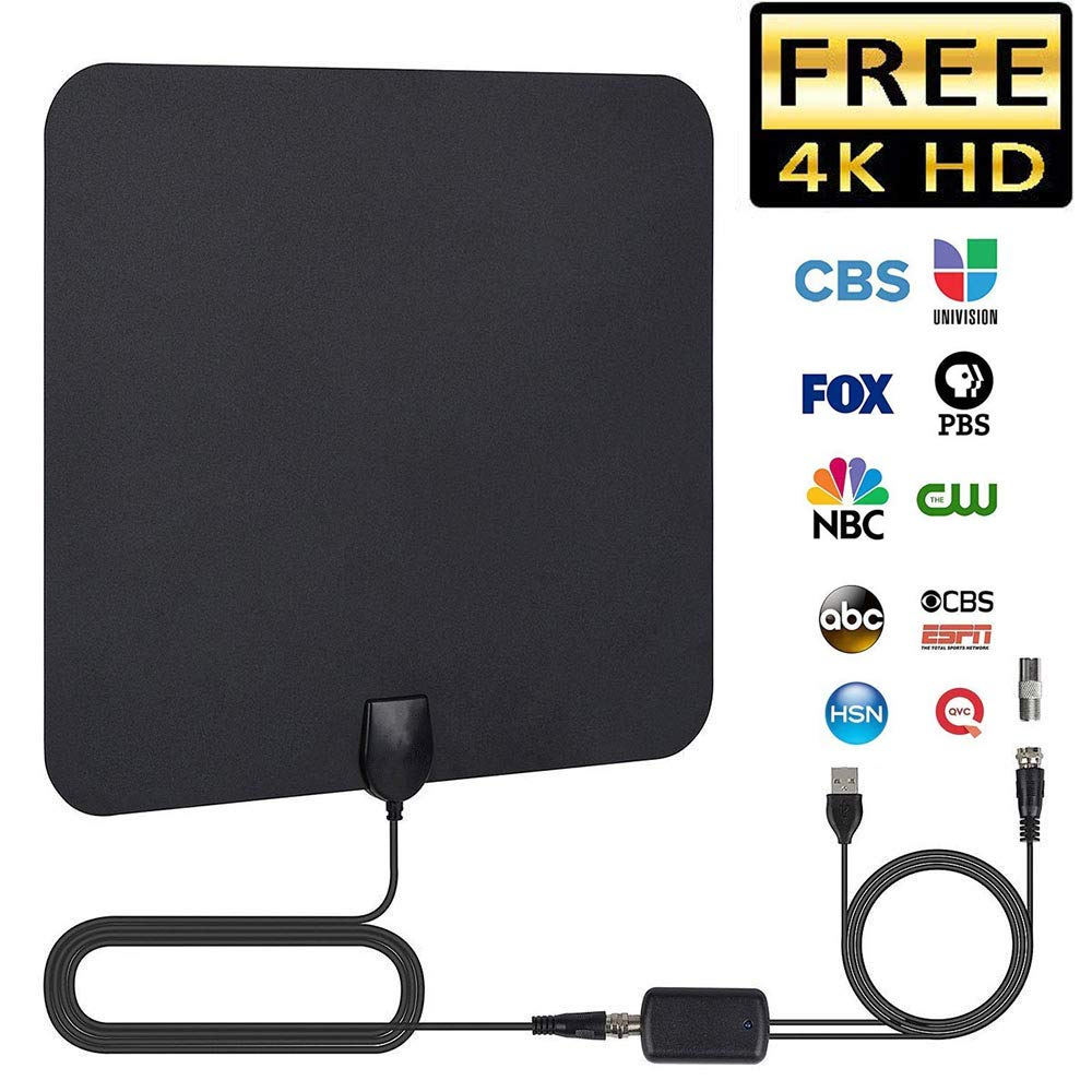 TV Antenna, 2019 Newest HDTV Indoor Digital Amplified Antennas,50-80 Miles Long Range with Amplifier Signal Booster for 1080P 4K Free TV Channels, Amplified 13ft Coax Cable by TANGCISON