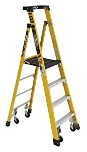 Fiberglass Podium Stepladder, 7 ft. Ladder Height, 4 ft. Platform Height, 375 lb.
