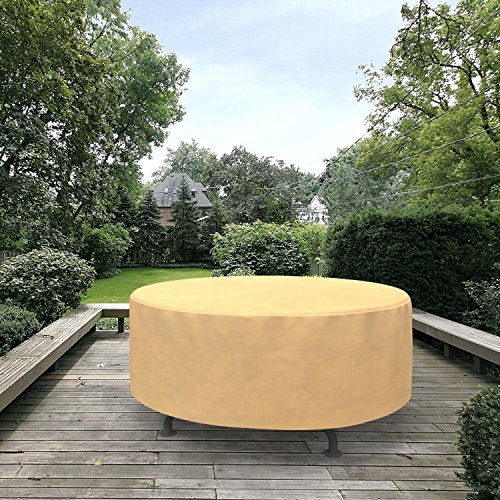 Grand Patio Round Patio Table Cover, Weather-Resistant Patio Table and Chair Covers, Waterproof and Durable Patio Dining Set Cover, Medium Size, Beige