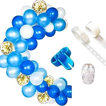 Kit de guirnaldas con globos Guirnalda con arco de globos, globo azul y blanco para cumpleaños Fiesta de bienvenida al bebé Decoraciones para bodas