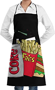 DaLmo Home Junk Food and A Diet Coke Adjustable Bib Apron with Pockets Long Ties Kitchen Aprons BBQ, Baking, Gardening