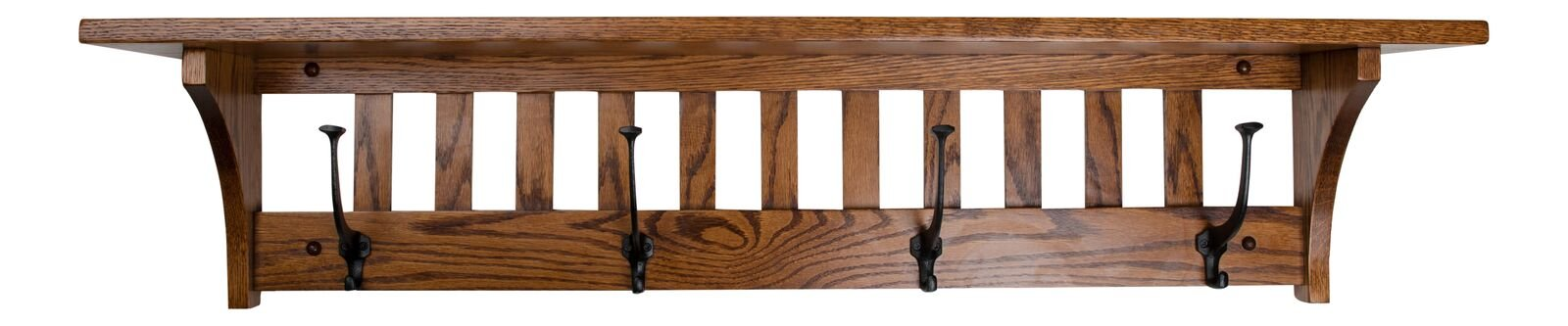 """Wall Mounted Mission Coat Hat Rain Sports Rack with shelf Mission Quartersawn Oak Wood 42"""" with 4 wrought iron hooks L x by Rooms Organized (Michaels Cherry) by Rooms Organized"""