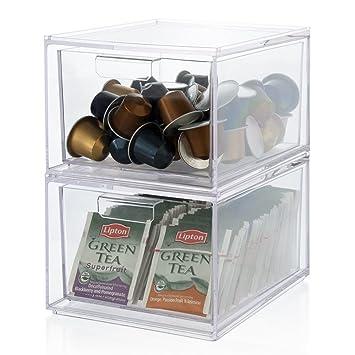 Cajonera de plástico transparente apilable y bolsa de té ...