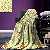 smallbeefly Dog Lover Throw Blanket French Bulldog Greyhound Poodle Terrier Silhouette Pure Breed Animals Canine Type Warm Microfiber All Season Blanket for Bed or Couch Multicolor