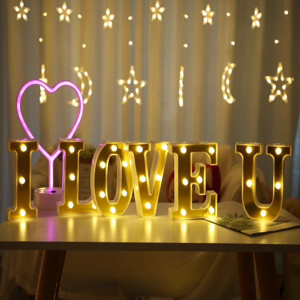 HONPHIER/® Letras luces alfabeto l/ámpara LED carta iluminaci/ón letras iluminadas Nachtlichter decoraci/ón para cumplea/ños Party bodas guarder/ías L