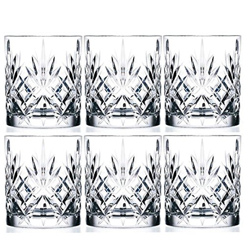 - 6-Piece Italian Crystal Whiskey Glass Set, 10 oz Crafted Double Old Fashioned Heavy Base Rocks Glasses for Scotch/Bourbon with Thundering Cut Design