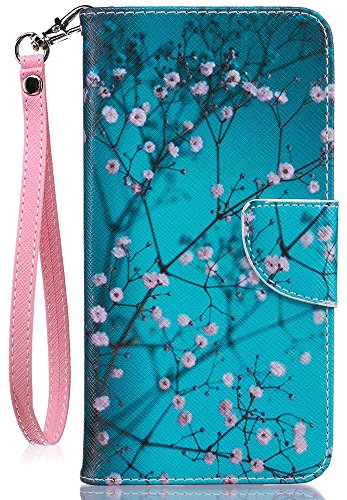 iPhone8 Wallet Case, iPhone7 Case, JanCalm [Card/Cash Slots] [Wrist Strap] PU Leather Wallet Cover Flip Cell Phone Cases for iPhone 7/iPhone 8 + Crystal pen (Plum blossom (Spring Blossom Pattern)