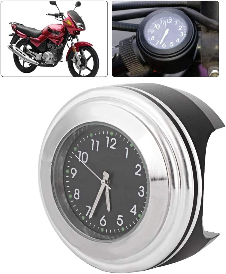 White Surface Black Dial Qiilu Motorcycle Quartz Clock Modified Handlebars to Install Waterproof Accessories