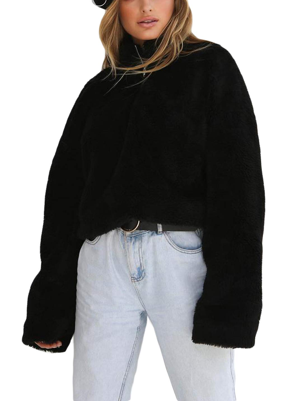 Asvivid Womens Winter Cozy Oversized 1/4 Zip High Neck Sherpa Shaggy Fleece Pullover Sweatshirt Coat Outerwear M Black