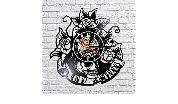 HDNFW Reloj de Pared de Vinilo Tatuaje de Calavera con Rosa Reloj ...