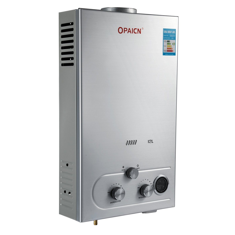BananaB Warmwasserbereiter gas 12L Propangas Durchlauferhitzer Warmwasserbereiter Boiler Warmwasserspeicher Tankless Instant mit Duschkopf und LCD Display