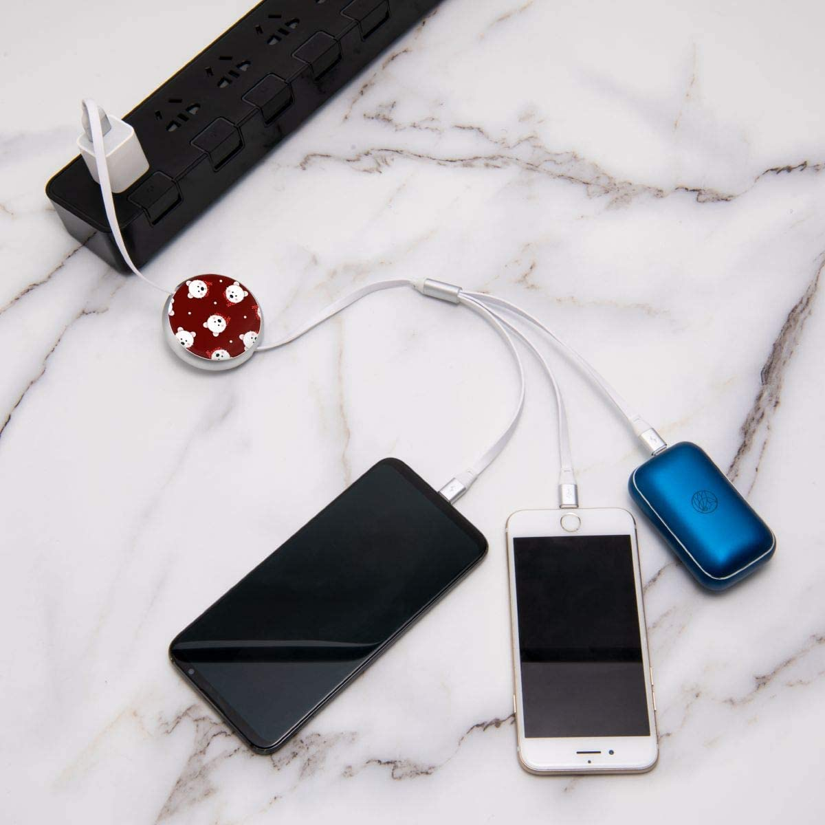 Retractable Multi USB Charging Cable Fast Charger Cord 3 in 1 White Bear with Red Scarf Polka Dot with Type C Micro USB Port Connectors