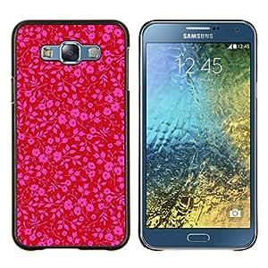 EJOOY---Cubierta de la caja de protección para la piel dura ** Samsung Galaxy E7 E700 ** --rosa patrón de papel tapiz floral rojo púrpura