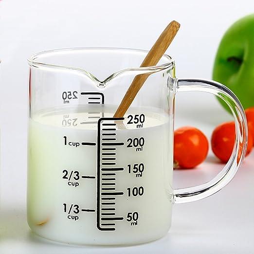 asentechuk® Transparente Cristal Digital leche taza de medir con escala se puede usar en microondas. Cocina Cocinar Herramienta