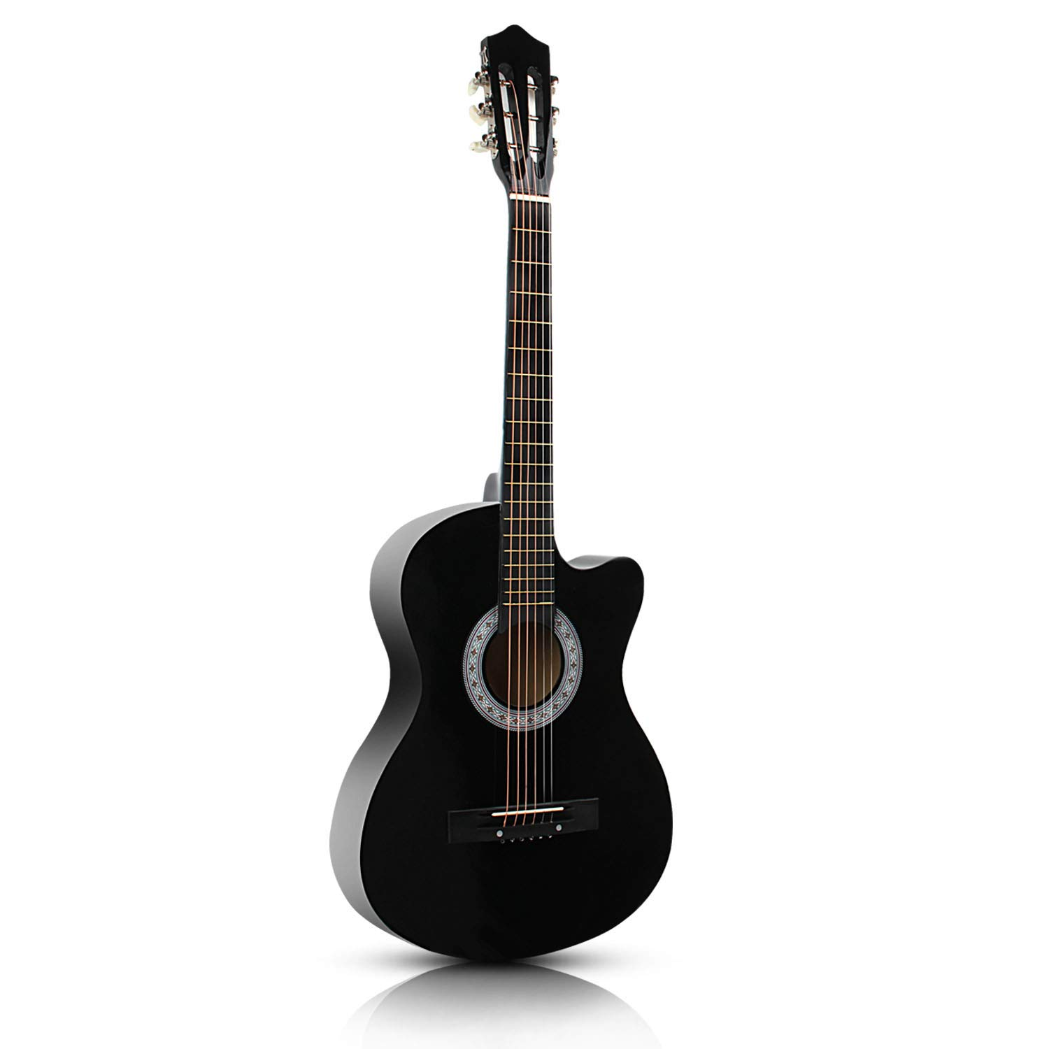 ARyee 38 Acoustic Cutaway Guitar Beginner Kit with Gig bag, Strap, Tuner and Pick (Black)