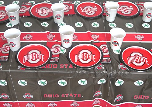 Ohio State Alumni Bar - Ohio State, Party, Barbecue Set, Plates, Napkins, Jumbo Cup and a Tablecloth 49 Pieces Set.