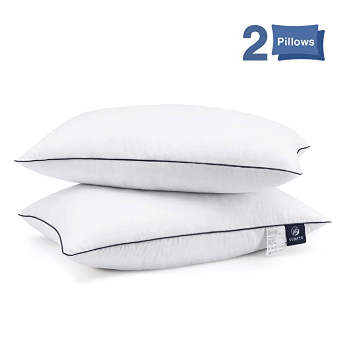 Bed Pillows for Sleeping 2 Pack, Hypoallergenic Pillow for Side and Back Sleeper Hotel Pillows Down Alternative Cooling Pillows with Super Soft Plush Fiber Fill, Standard Size