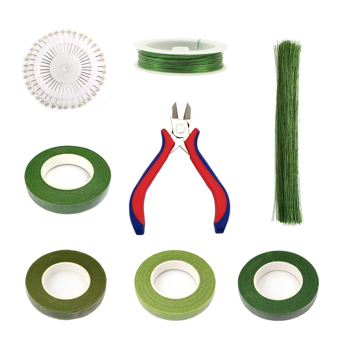 Floral Arrangement Kit Tools - Zivisk 8 Pcs Floral Supplies - Tools Wire Cutter, 4 Rolls Different Green Floral Tape, 100Pcs 22Gauge Floral Stem Wire, 0.4MM Floral Stem Wire, 40 Pcs Ball Head Pins