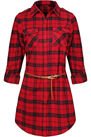4a2d27f3 BodiLove Women's Trendy Belted Button Up Plaid Flannel Cotton Dress at  Amazon Women's Clothing store: