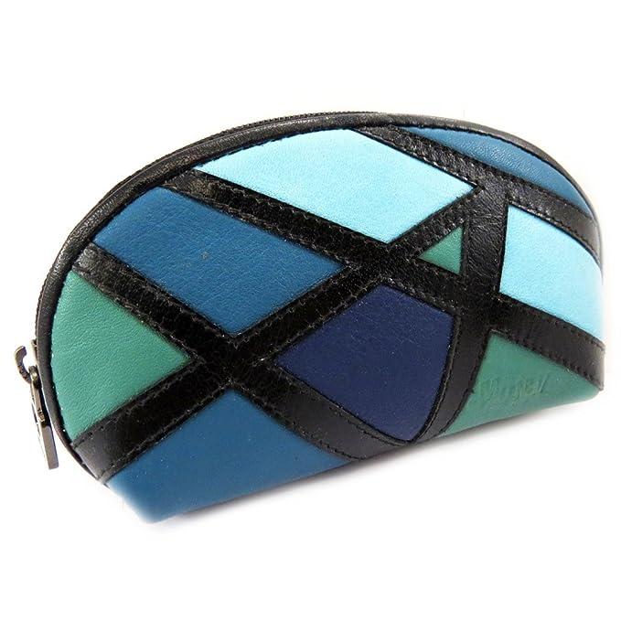 Cartera de cuero con cremallera Mundiverde azulado ...