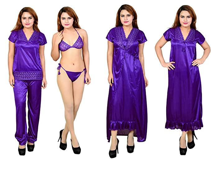 a8e34b1d1e3cb Noor Women's Satin Nightwear Set of 6 Pcs Nighty, Wrap Gown, Top, Capri